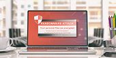Ransomware Alert On A Laptop Screen. 3D Illustration poster