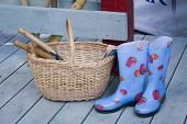 Basket, Gum-Boots And Garden Equipment