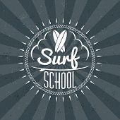 Surfing School And Rental Summer Badge. Typographic Retro Style Label With Textured Dark Background. poster