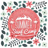 Surfing School And Rental Summer Badge. Typographic Retro Style Label With Floral Background. Rental poster