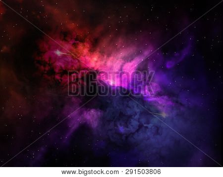 poster of Landscape Background Of Fantasy Alien Galaxy With Purple Red And Blue Violet Glowing Clouds And Star