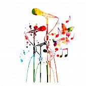 Colorful Microphones With Music Notes Isolated Vector Illustration Design. Music Background. Karaoke poster