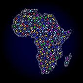 Polygonal Vector Map Of Africa With Glare Effect On A Black Background. Abstract Triangles, Lines, L poster
