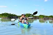 Girls kayaking in in Sian Ka an Biosphere Reserve, Tulum, Mexico