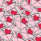 valentine`s hearts on envelopes seamless background