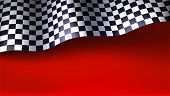 Waving Checkered Racing Flag On Red Background. Flag For Car Or Motorsport Rally. Three Dimensional  poster