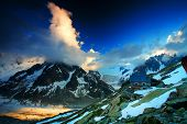 Leschaux Glacier in sunset light, Haute Savoie, France