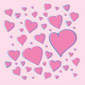 Vector pink hearts
