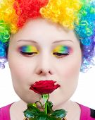 foto of clown rose  - Beautiful woman in rainbow clown wig and creative rainbow make - JPG