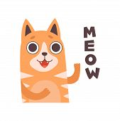 Red Cat Meowing, Cute Cartoon Pet Animal Making Sound Vector Illustration poster