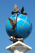 Globus (Globe) monument in Kiev, Ukraine. Located on Independence Square (Maidan Nezalezhnosti).