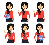 Set. A Young Girl Employee In The Office In A Portrait Style. Different Poses. Beautiful Girl. Chara poster