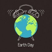 Earth Symbol With Hand Drawn Alarm Clock Over Blackboard Texture. Concept For Earth Day, Hour, Envir poster