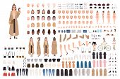 Young Hipster Girl In Trench Coat Creation Set Or Diy Kit. Set Of Body Parts, Stylish Clothes, Trend poster