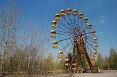 Chernobyl area. Lost city Pripyat. Modern ruins. City park.Ukraine. Kiev region