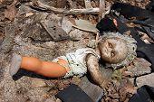 Nuclear doll. Chernobyl area. Lost city Pripyat. Modern ruins. Ukraine. Kiev region.