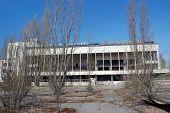 Chernobyl area. Lost city Pripyat. Theatre.Modern ruins. Ukraine. Kiev region.