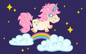 Vector Illustration Of A Cute Unicorn On Night Sky. Cute Unicorn With Rainbow And Stars poster