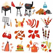 Barbecue Grill Cartoon Elements Set On White Background. Cookout Bbq Party. Set Of Barbecue Charcoal poster