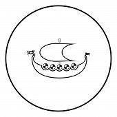 Viking Drakkar Dracar Sailboat Vikings Ship Viking Boat Icon Outline Black Color Vector In Circle R poster