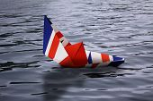 Paper Boat Made As The British Flag Sinking In Water - Concept Showing England Leaving European Unio poster