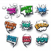 Start Up No Enjoy Comic Text Collection Sound Effects Pop Art Style. Set Vector Speech Bubble With W poster