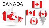 Canada. Flag, Map Pointer, Button, Waving Flag, Symbol, Flat Icon And Map Of Canada In The Colors Of poster