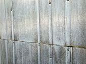 Corrugated Roofing Metal Zinc Sheet Texture. Weathered Steel Background poster