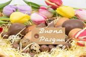Text Happy Easter Buona Pasqua Is Happy Easter Written In Italian)  For Graphic Resource On The Them poster