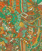 Summer Doodle Landscape. Fantastic Hand Drawn Psychedelic Colorful Cartoon Artwork. Vector Illustrat poster