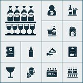 Beverages Icons Set With Spacing, Cigarette, Waiter And Other Stand Of Glasses Elements. Isolated  I poster