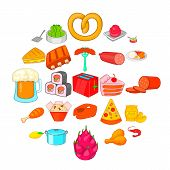 Evening Meal Icons Set. Cartoon Set Of 25 Evening Meal Icons For Web Isolated On White Background poster