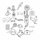 Domestic Animal Icons Set. Outline Set Of 25 Domestic Animal Icons For Web Isolated On White Backgro poster