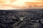 Endless Lava Fields Of The Big Isalnd Of Hawaii. Smooth, Undulating Surface Of Frozen Pahoehoe Lava. poster