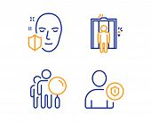 Search People, Elevator And Face Protection Icons Simple Set. Security Sign. Find Employee, Lift, Se poster