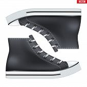 Mockup Of Pair High Top Canvas Sneaker. Black Color. Example Gumshoes. Realistic Editable Vector Ill poster