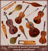 Collection of musical instruments strunnych smychkovych
