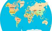 Silhouette Of A World Map With All Continents And Large Islands, All Countries poster
