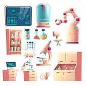 Science Genetic Laboratory Equipment, Glassware And Tools Cartoon Vector Set Isolated On White Backg poster