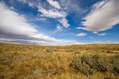 pic of prairie  - The flat land and endless sky of the prairie central Wyoming - JPG