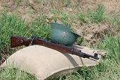 KIEV, UKRAINE - MAY 8 :  Red Star military history club.  German  munition and weapon replica during
