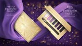 Cosmetic Vector Realistic Eye Shadow Ads. Elegant Golden Palette, Open Case With Purple Eye Shadows  poster