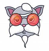 Head Of Cute Cat In Hipster Sunglasses . Animal Cartoon Vector Illustrtation. poster