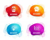 Liquid Badges. Set Of Smartphone Statistics, Luggage And Idea Icons. Dot Plot Sign. Mobile Business, poster