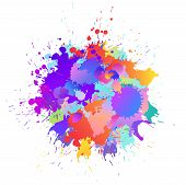 Colorful Banner Background With Art Paint Drops, Spots. Grunge Layout Of Rainbow Blotch (different C poster