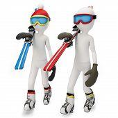 3D Man Walking To Skiing Area