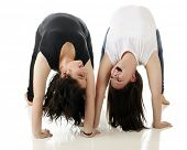 Two tween laughing as they look at each other upside down in mutual back-bends.  On a white backgrou