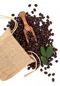 Coffee beans in a hessian drawstring sack and loose with leaf sprigs and olive wood scoop over white