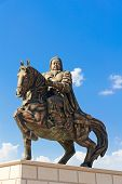 stock photo of bator  - Statue of Genghis Khan at the Mausoleum Ordos Inner Mongolia China - JPG