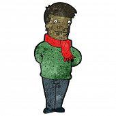 hombre de dibujos animados en la bufanda